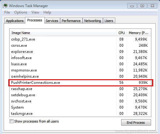 Online Scan: Analyze pushprinterconnections.exe file and fix runtime