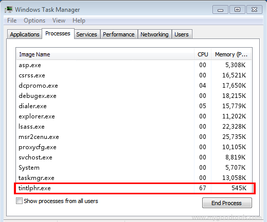 Online Scan: Analyze tintlphr.exe file and fix runtime errors, Fix