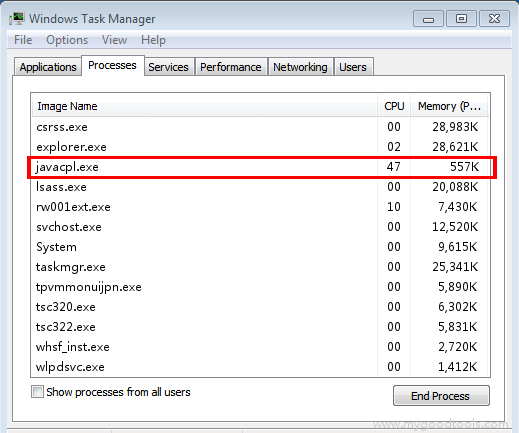 Online Scan: Analyze javacpl.exe file and fix runtime errors, Fix