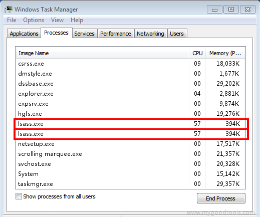 Online Scan: Analyze lsass exe file and fix runtime errors, Fix